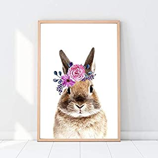 Bunny Rabbit Print, Flower Crown, Animals with Flower, Forest Animals, Woodland Nursery, Wall Poster, Nursery Décor for Girl, Baby Shower Gift, Kid Bedroom Gift - 1 piece - 8x10 - Unframed