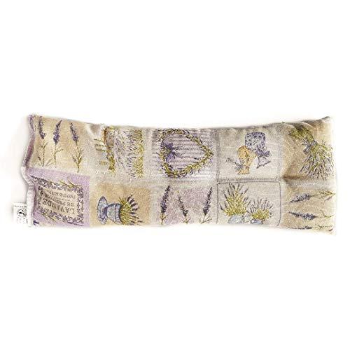 Decolores | Saco térmico de calor y frío con aroma a hierbas naturales. Cojín estampado de flores de lavanda. Tamaño: 15 x 40 cms