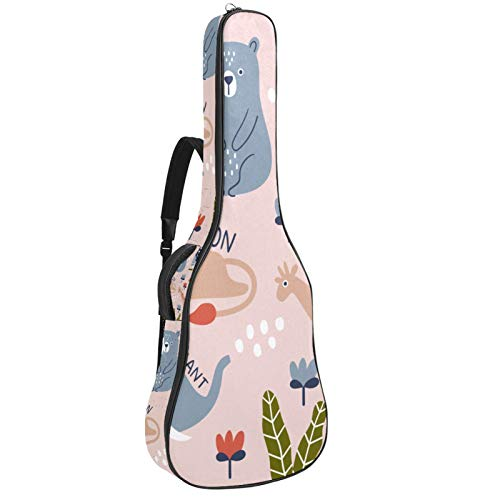 Funda para guitarra acústica de 41 106 cm, acolchada, impermeable, doble correa ajustable para el hombro, funda para guitarra con lazo para colgar en la espalda, diseño colorido de animales