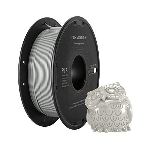 PLA Filament 1.75 mm, TINMORRY 3D Drucker Filament, Filament-3D-Druckmaterialien, 0,5 kg, Grau