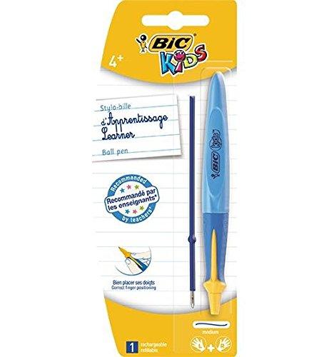 BIC Lot de 3 Stylos bille rétractable KIDS BEGINNER Twist Pte Ø1mm Encre Bleue + rech.