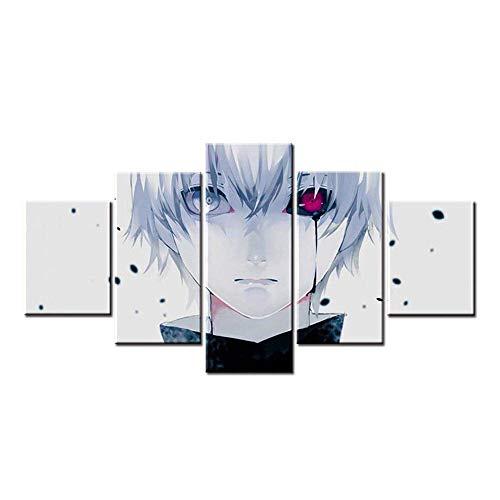 Fbewan 5 Pannelli Manifesto Stampe e Quadri su Tela Tokyo Ghoul Kaneki Ken Dipinti Opera d'Arte Arte muraria Cosplay Anime Stile Decorazione,B,30cm*40x2+30x60x2+30x80x1