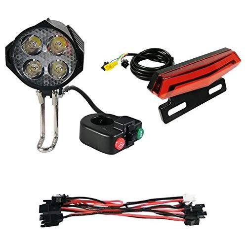Fltaheroo Luz Delantera LED de 12V-80V con Bocina Incorporada Luz Trasera de 36V-60V 5W con Interruptor de FuncióN de Freno y Giro para Bicicleta EléCtrica