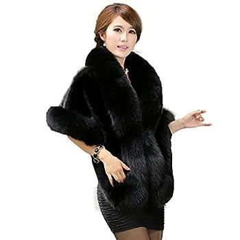 Caracilia Women s Faux Fur Coat Wedding Cloak Cape Shawl For Evening Party  One Size Black