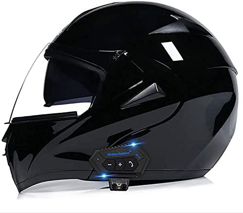 ZHANGYY VIIPOOCasco Bluetooth De La Motocicleta, Flip Up Motorbike Casco con Anti-Niebla Dual Visor Auricular De Micrófono De Doble Altavoz Incorporado para Hombres Y Mujeres,F-XL