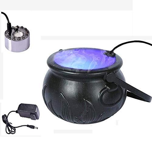 ZHUANQIAN Máquina de Humo de Halloween Bruja Olla, Fuente de Agua Estanque Máquina de Niebla, Atomizador para Hacer Humo humidificador Aire, Colorido Luces LED Decoraciones para Fiestas de Halloween