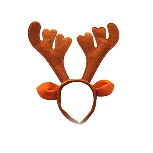 Reindeer Headband Boutique Christmas Headbands Elfin Reindeer Antlers Headband Deer Party Hats for Easter Halloween Christmas Kid's Party Brown