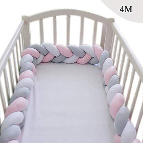 Baby Infant 4M Crib Bumper Pads Knotted Braided Plush Nursery Bed Safety Rail Guard, Cradle Protector, Cot Sleep Bumper Pillow, Knot Ball, 3-Strand, Blend Color,F