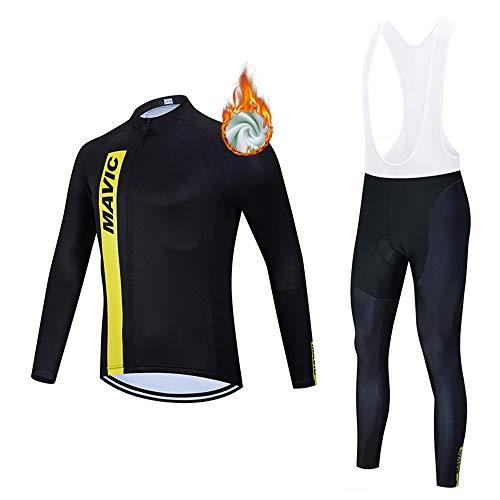 METAAN Trajes de Ciclismo para Hombre de Manga Larga, Jersey de Ciclismo de Lana térmica de Invierno y Pantalones con Peto para el Equipo Profesional