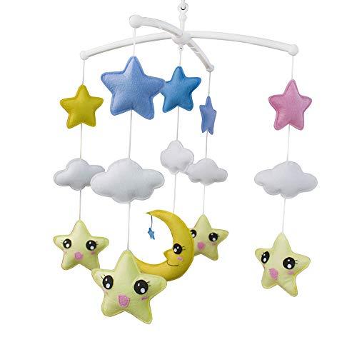 Pigeon Fleet Bébé Fait à la Main Mobile Musical Bell Jaune Lune et étoiles Nursery décor pour garçons et Filles