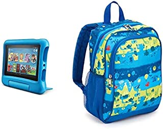 Fire 7 Kids Tablet 32GB Blue with Made for Amazon Kids Tablet Backpack, Layers