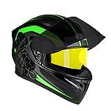 Bradoner Casco de motocicleta de cuatro estaciones con doble lente transpirable y visión nocturna de 54 a 65 cm (talla XXL)