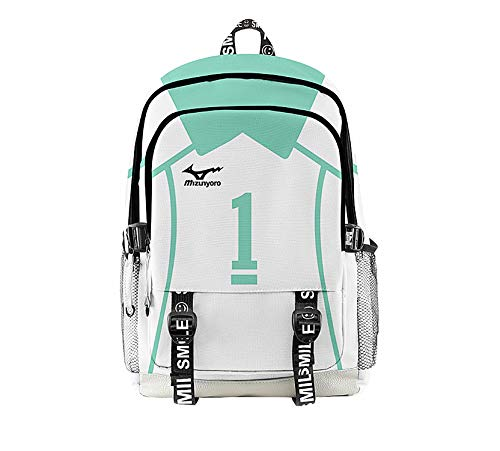 Moyisea Haikyuu Volleyball Schultasche Anime Geschenkwaren Rucksack 3D-Druck Bookbag Cosplay Daypack Tasche für Hochschule Reise Studenten (blau)