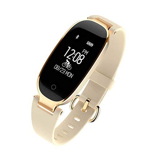 NUNGBE Stilvolle Fitness Smart Armband, Uhr, Damen IP68 wasserdicht Bluetooth Herzfrequenzmesser Fitness Armband Android IOS-Gelb
