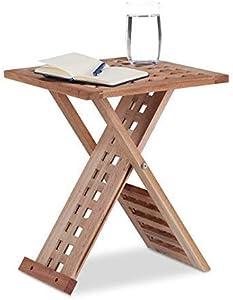 Relaxdays 10021328 Tavolino da Salotto, Pieghevole, Legno Noce, Quadrato, HxLxP: 40,5 x 33 x 33 cm, Marrone Chiaro