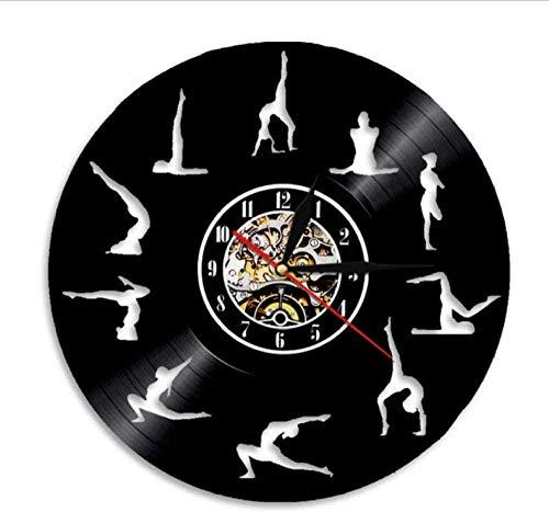 Om Yoga Studio Reloj de pared Gimnasia Vinilo Record Reloj de Pared Zen Meditación Diseño Moderno Reloj Decorativo Yogi Regalo para Chica