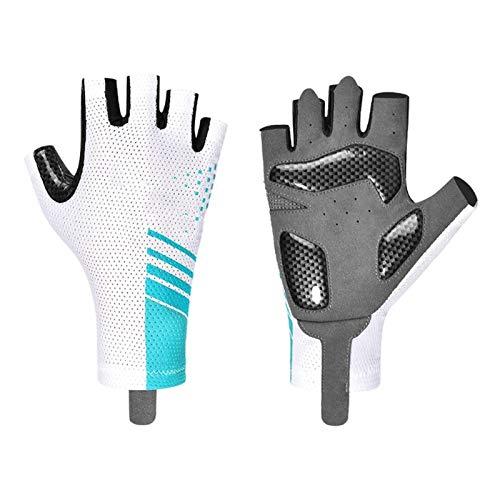 Summer Cycling Gloves Half Finger For Men And Women Road Bike Mtb Gloves (Color : Blue, Size : Medium)