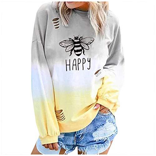 WYZTLNMA Sweatshirt Women Fashion Clothes Letter Gradual Long Sleeve Long Sleeve Round Neck Shirt Blouses Streetwear Yellow