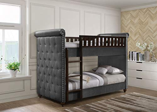 New 3FT Single Children's Chesterfield Buttoned Design Silver Velvet Fabric Wooden Bunk Bed Frame & Mattresses (Bunk Bed Only)