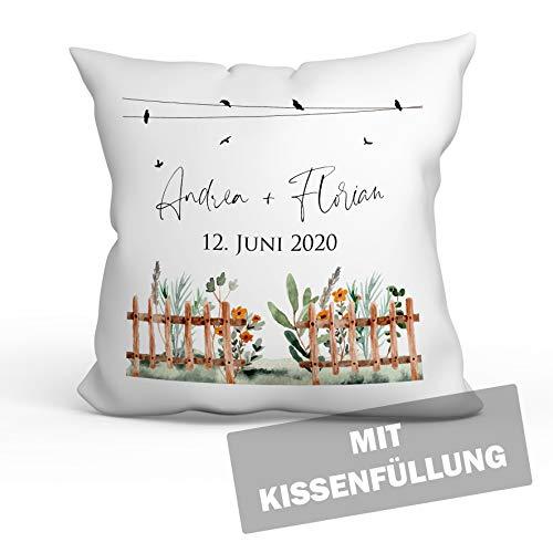 personalisierbares Kissen zur Hochzeit, Hochzeitskissen Auto Hochzeits-Geschenk Geldgeschenk Kissenhülle mit Füllung und Namen weiß 40cm x 40cm (Vogel Zaun Blume)