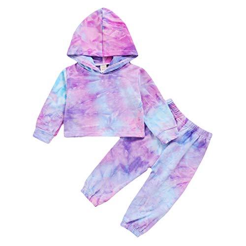 1-6 Años Conjunto de Sudaderas con Capucha Tie-Dye para Niños Y Niñas Pantalones de Sudadera Chic para Niños Pequeños Chándal Casual de Primavera Y Otoño