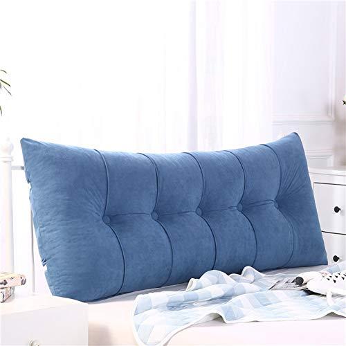 Z&H Solid Color Rectangular Headboard Cushion,Triangle Large Bedside Cushion Backrest Soft Tatami Sofa Bed Pillow Removable Backrest Cushion Blue 150 * 50 * 20cm (59 * 20 * 8')