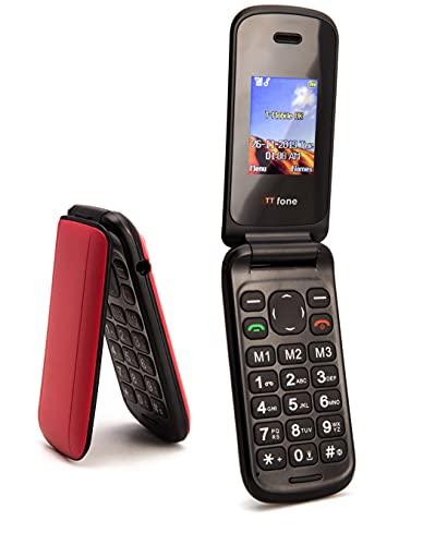 TTsims Telefono cellulare a conchiglia Flip TT140 Fotocamera Bluetooth Il telefono cellulare pieghevole più economico - Rosso