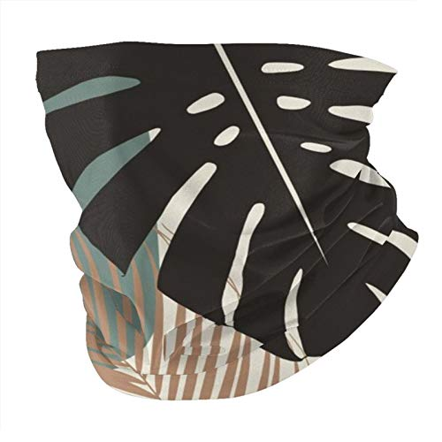 Bandana máscara facial minimalista monstera palma finesse decoración tropical arte pasamontañas al aire libre a prueba de polvo resistente al viento bufanda multifuncional para hombres y mujeres