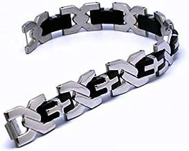 Mens Stainless Steel Bracelet Men Rubber Bangles Black Silver Gift-ST1108