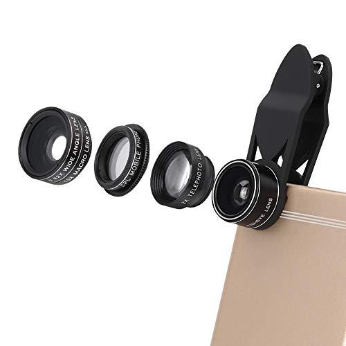 Obiettivo per Telefono Cellulare Obiettivi Smartphone Clip On 5 in 1 Obiettivo con Morsetto Obiettivo Fisheye + Obiettivo Grandangolare + Obiettivo Macro + Obiettivo Zoom 2X+ Filtro CPL
