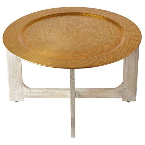 Wohnzimmertisch Couchtisch rund modern aus Metall und Holz ø 80cm | Marokkanischer runder Vintage Tisch Klapptisch klappbar | Moderner Design Runder Sofatisch mit Tablett in Gold Hochglanz