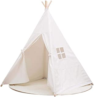 DAYON Kids Foldable Teepee Tent With Mat Playhouse Indian Style - 4 Wooden Poles Canvas With Bottom Mat , Indoor & Outdoor ,White