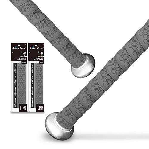 Alien Pros Baseball Griffband (2 Griffe) - 1,1 mm vorgeschnittenes Griffband für EIN professionelles Griffgefühl - Ersatz für den Alten Baseballschlägergriff (Grau)