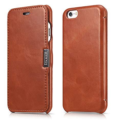 ICARER Tasche passend für Apple iPhone 6S und iPhone 6 (4,7 Zoll), Case Außenseite aus Echt-Leder, Schutz-Hülle seitlich klappbar, Ultra-Slim Cover, Vintage Look, Dunkel-Braun