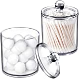SheeChung 15-Ounce Small Clear Plastic Apothecary Jar - Qtip Dispenser Holder Bathroom Vanity Storage Canister Acrylic Jar for Cotton Ball,Cotton Swab,Q-Tips,Cotton Rounds   2 Pack (Clear)