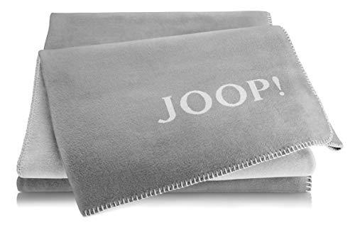 Joop!® Uni-Doubleface I flauschig-weiche Kuscheldecke Graphit-Rauch I Wohndecke aus Baumwollmischgewebe in grau I Tagesdecke 150x200cm | nachhaltig produziert in Deutschland I Öko-Tex Standard 100