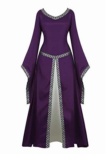 Vestido Medieval Renacimiento Mujer Vintage Victoriano gotico con Manga Larga de Llamarada Disfraz Princesa Púrpura s