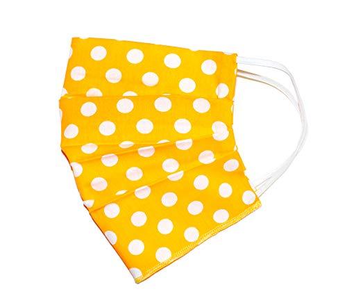 Weri Speciaal Zomer gezichtsmasker, dun mondmasker, bandana, multifunctionele doek, stofmasker ademend, stof-, lucht-, mond- en neusmasker Voor wandelen en vrije tijd. Eén maat Geel stippen