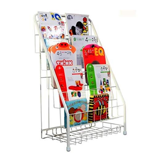 YUQIYU Racks estantería de Hierro Forjado Libro de imágenes Perchero de pie Estante estantería de los niños Simples de los niños (Color: Blanco, Tamaño: 87,5 * 57 * 41cm)