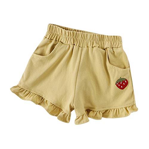 Julhold - Pantalones cortos de verano para bebé Candy de algodón, con diseño de hoja de loto, elásticos en la cintura, 1-6 años amarillo 18-24 meses