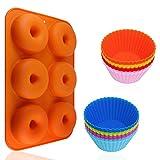 AIFUDA - Juego de 24 moldes de silicona para hornear magdalenas y rosquillas, antiadherentes, resistentes al calor, para tartas, magdalenas, galletas, bagels