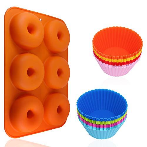 AIFUDA - Juego de 24 moldes de silicona para magdalenas y rosquillas antiadherentes, resistente al calor para hornear moldes para pasteles, magdalenas, galletas, bagels
