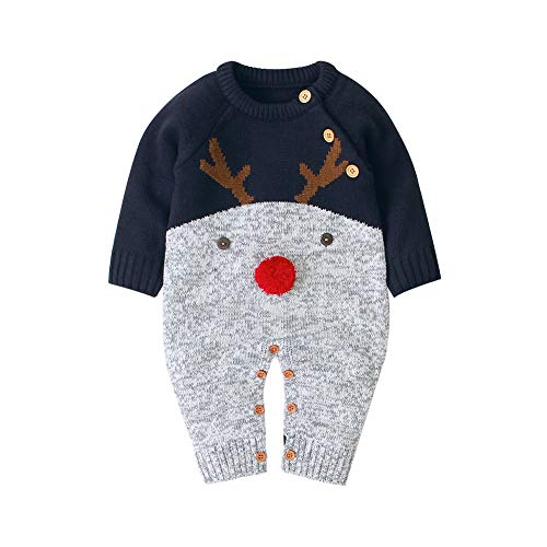 Merqwadd Unisex Infant Baby Christmas Sweater Toddler Reindeer Knit Jumpsuit Outfit (Navy, 0-3 Months)