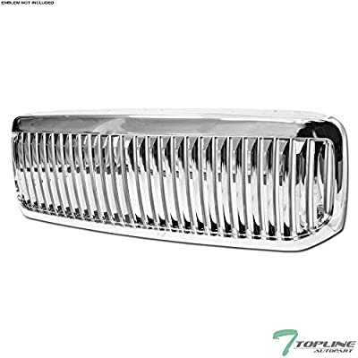 Topline Autopart Chrome Vertical Front Hood Bumper Grill Grille ABS For 99-04 Ford F250 / F350 / F450 / F550 Superduty / 00-04 Excursion