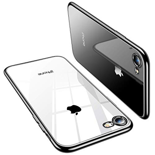 TORRAS Crystal Clear iPhone 8 Case/iPhone 7 Case, [Anti-Yellowing] Slim Soft Silicone TPU Cover with Thin Protection Phone Case for iPhone 7/8, Black