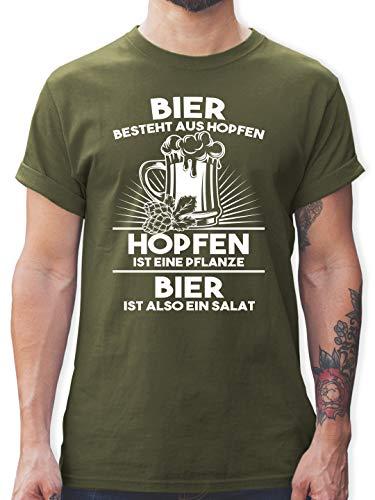 Sprüche - Hopfen ist eine Pflanze Bier ist Salat - L - Army Grün - t Shirt hopfen - L190 - Tshirt Herren und Männer T-Shirts