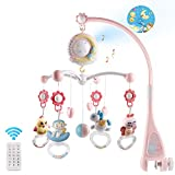 Baby Musical Crib Mobile with Timing Function Projector and Lights,Hanging Rotating Rattles