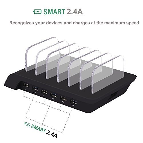 6 Port USB-Laadstation Universal Desktop Tablet & Smartphone Multi-Device Hub Charging Dock for All Phone/Tables/Smart Watch/Power Bank