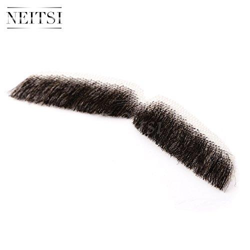 『Neitsi(ネイティス) 付け髭 ひげ 口髭 人毛 ウィッグ 髪製髭 手作り本物 コスプレ用ダンス用髭 1枚』の2枚目の画像