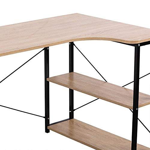 Bureau thuis, L-vormige multifunctionele bureau, geschikt met Restauratierijtuigen speeltafel voor Binnenlandse Zaken (hout en staal Licht eiken),120 * 74 * 71.5cm